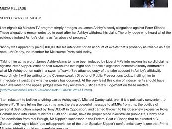 Michael Danby refers James Ashby to Federal DPP